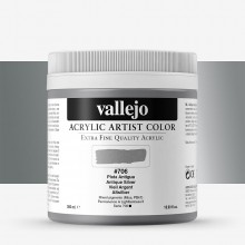 Vallejo : Artist Acrylic Paint : 500ml Pot : Antique Silver