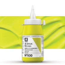 Vallejo : Studio Acrylic Paint : 500ml Pot : Yellow Fluorescent