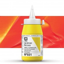 Vallejo : Studio Acrylic Paint : 500ml Pot : Gold Yellow Fluorescent