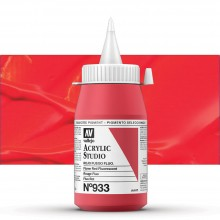 Vallejo : Studio Acrylic Paint : 500ml Pot : Flame Red Fluorescent