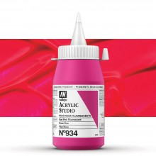 Vallejo : Studio Acrylic Paint : 500ml Pot : Red Pink Fluorescent