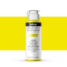 Vallejo : Fluid Artist Acrylic Paint : 100ml : Hansa Yellow