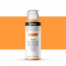 Vallejo : Fluid Artist Acrylic Paint : 100ml : Fluorescent Orange