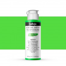Vallejo : Fluid Artist Acrylic Paint : 100ml : Fluorescent Green