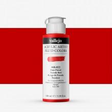 Vallejo : Fluid Artist Acrylic Paint : 100ml : Pyrrole Red