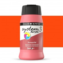 Daler Rowney : System 3 Acrylic Paint : 500ml : Fluorescent Red