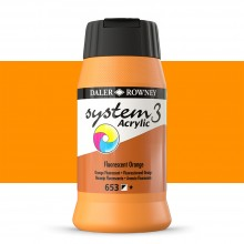 Daler Rowney : System 3 Acrylic Paint : 500ml : Fluorescent Orange