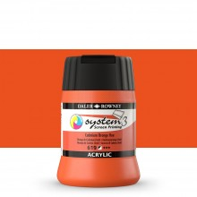 Daler Rowney : System 3 : Screen Printing Acrylic Paint : 250ml : Cadmium Orange Hue