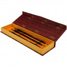 Jas : Chinese Brush Gift Set : 3 Weasel Hair Brushes : Fabric Box