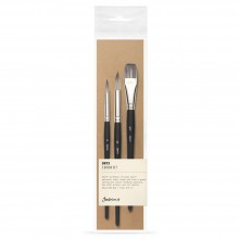 Jackson's : Onyx : Synthetic Brush : Set of 3 : 8 & 12 Round, 3/4in Flat