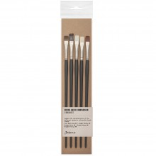 Jackson's : Oil & Acrylic Brush Hair Comparison Set : Set of 5 No.6 Flat Brushes
