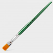 Handover : Series 2107 Synthetic Flat One Stroke Brush : Green Handle : 1/2 in