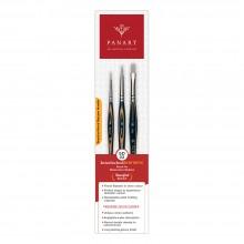 Panart : Interlocked Synthetic : Watercolour Brush : Set of 3 : 2,6 Round, 6 Flat