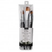 Princeton : Aqua Elite : Synthetic Kolinsky Sable : Watercolour  Brush : Series 4850 : Short Handle : Professional Set of 4