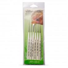 Silver Brush : Ultra Mini : Golden Taklon Brush : Liner : Set of 6