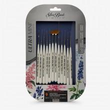 Silver Brush : Ultra Mini : Golden Taklon Brush : Miniature Detail Set of 12