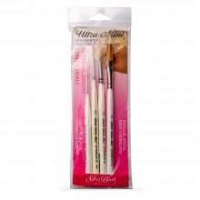 Silver Brush : Ultra Mini : Golden Taklon Brush : Lettering Set of 4