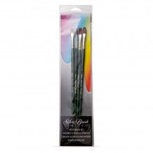 Silver Brush : Ruby Satin : Synthetic Brush : Long Handle : Set of 4