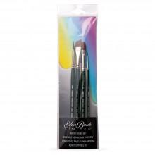Silver Brush : Ruby Satin : Synthetic Brush : Short Handle : Basic Set of 4