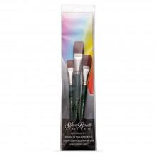 Silver Brush : Ruby Satin : Synthetic Brush : Short Handle : Jumbo Bright Set of 3