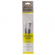 Winsor & Newton : Foundation Acrylic Brush Set : SH Round 2 Flat 2 & Filbert 4