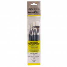 Winsor & Newton : Foundation Acrylic Brush Set : SH Round 3&6 Flat 10&14 Filbert 3&6