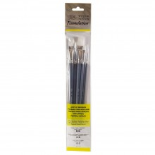 Winsor & Newton : Foundation Acrylic Brush Set : LH Round 3& 6 Flat 10&14 Filbert 3&6