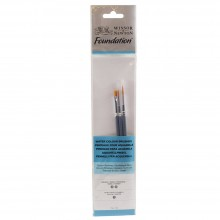 Winsor & Newton : Foundation Watercolour Brush Set : SH Round 3 & 5 Flat 1