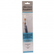 Winsor & Newton : Foundation Watercolour Brush Set : Round 3 Flat 1 & 2