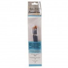 Winsor & Newton : Foundation Watercolour Brush Set : SH Round 3 & 5 Flat 4 Filbert 2