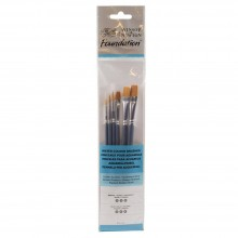 Winsor & Newton : Foundation Watercolour Brush Set : SH Round 2, 3 & 5 Flat 3, 5 & 6
