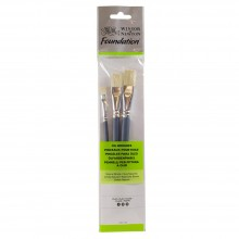 Winsor & Newton : Foundation Oil Brush Set : SH Flat 4, 10 & 14