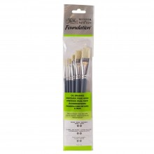 Winsor & Newton : Foundation Oil Brush Set : SH Round 3 & 6 Flat 10 & 14 Filbert 3 & 6