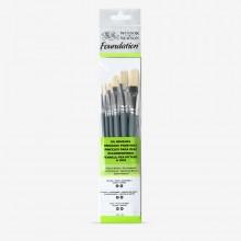 Winsor & Newton : Foundation Oil Brush Set : SH Round 3 & 6 Flat 10 & 14 Filbert 3 & 6