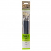 Winsor & Newton : Foundation Oil Brush Set : LH Round 3 & 6 Flat 10 & 14 Filbert 3 & 6