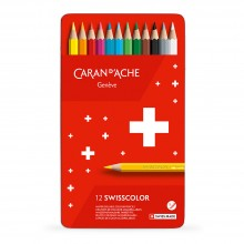 Caran d'Ache : Swisscolor : Watersoluble Pencil : Metal Tin Set of 12