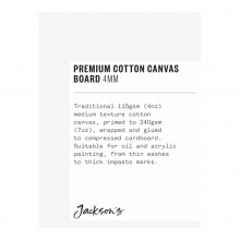 Jackson's : Single : Premium Cotton Canvas Art Board 4mm : 3x4in (Apx.7x10cm)