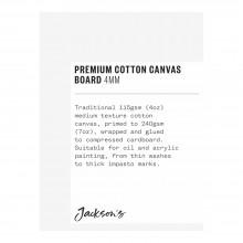 Jackson's : Single : Premium Cotton Canvas Art Board 4mm : 3x4in (Apx.7x10cm)