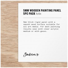 Jackson's : 5mm Wooden Painting Panel : 4x4in : Pack of 5