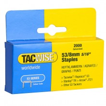 Tacwise : 53 Series Staples : 8mm : Box of 2000
