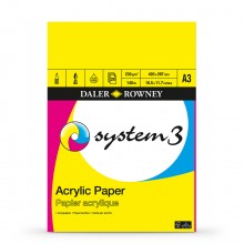 Daler Rowney : System 3 : Acrylic Pad : 230gsm : 20 Sheets : A3