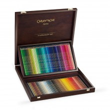 CARAN D'ACHE : SUPRACOLOR SOFT : WATERSOLUBLE PENCIL : WOODEN BOX : SET OF 80