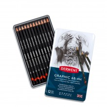 Derwent : Graphic Pencils Set of 12 in Tin : 6B to 4H : Medium