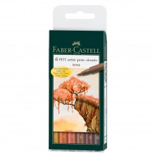 FABER CASTELL : PITT ARTISTS BRUSH PEN : SET OF 6 : TERRA