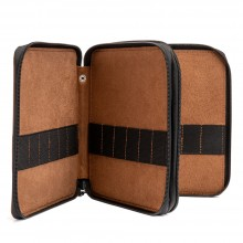Global : Leather Antique Brown Folding Colour Pencil Case Holds 72