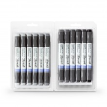 Kuretake : Zig : Kurecolor Twin WS Marker : Set of 12 : Cool Grey Colours