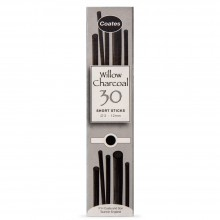 Coates : Willow Charcoal : Pack of 30 Half Sticks : 3-12mm Diameter