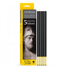 Nitram : Petit Bâton Round Stick Charcoal : Pack of 5 : 6mm