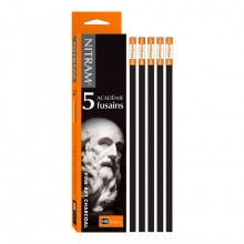 Nitram : Académie Fusains Square Stick Charcoal : Pack of 5 : HB