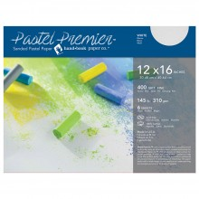 Global : Pastel Premier : Sanded Pastel Paper : Fine Grit : 12x16in : Pack of 6 : White
